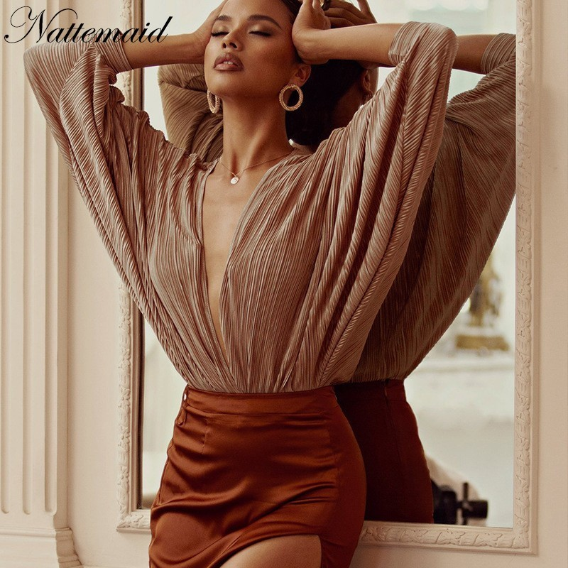9d44746d676 NATTEMAID Solid Striped Loose Summer Bodysuit Women Full Sleeve Rompers  Womens Jumpsuit V Neck Sexy Bodysuit