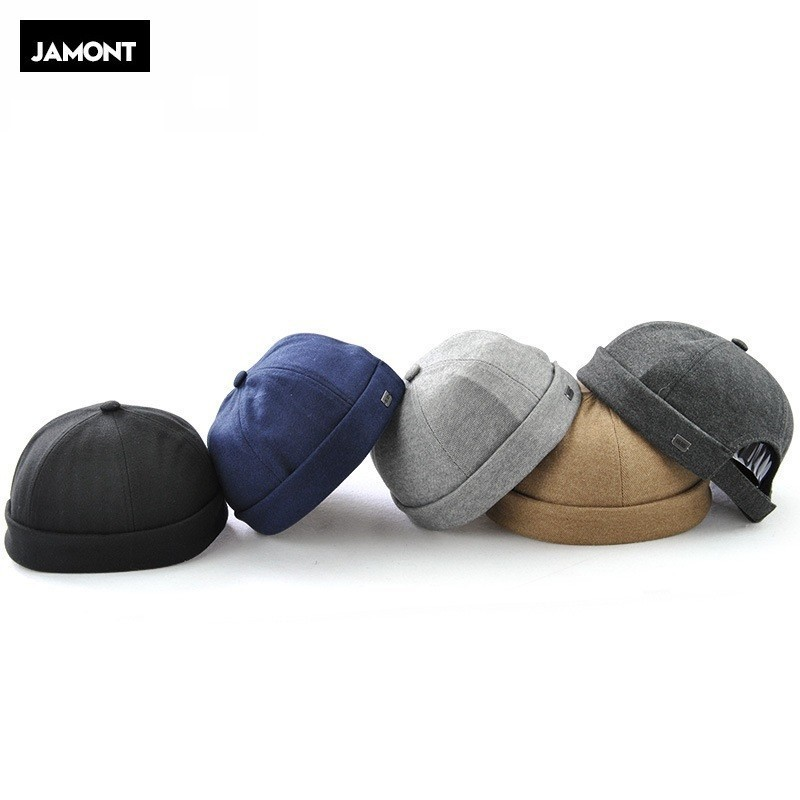 JAMONT 2020 New Chinese-Style Round Hat Unisex Snapback Couple Caps Flanging Solid color Fashion Men's hats miki hat(China)