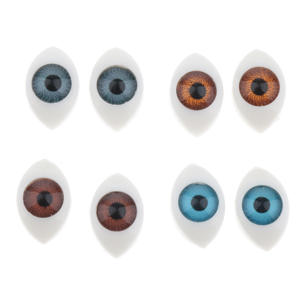 8 Pairs Plastic Oval Flat Back Eyes 5mm 6mm For Mask Bear Dolls DIY Puppets Dolls Craft