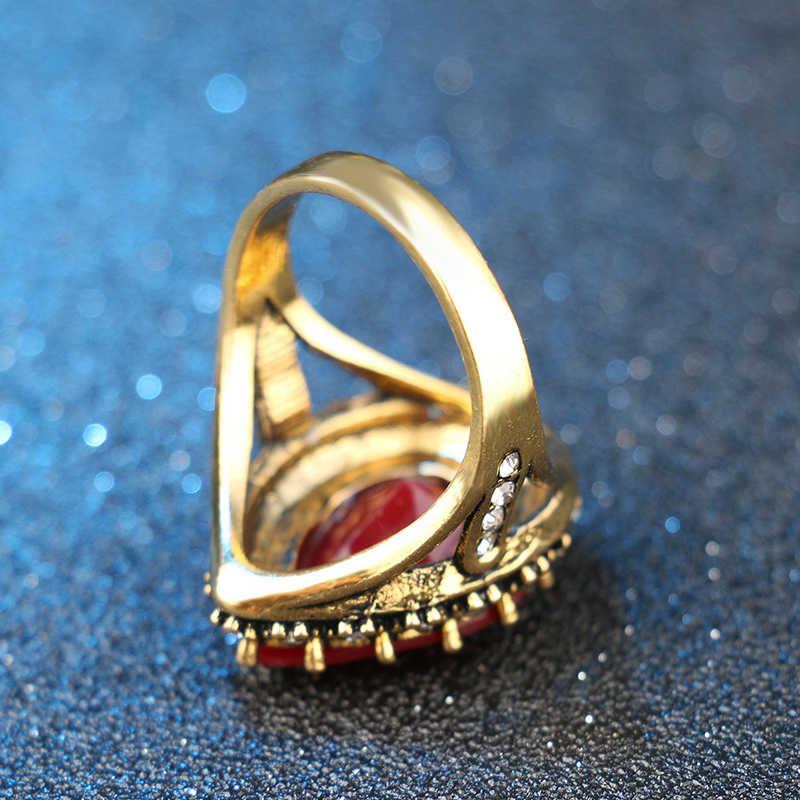 1PC Bride Wedding Boho Rings Big Black Stone Red Green Zircon Antique Gold Turkish Jewelry Mosaic Crystal Size 7 8 9 10