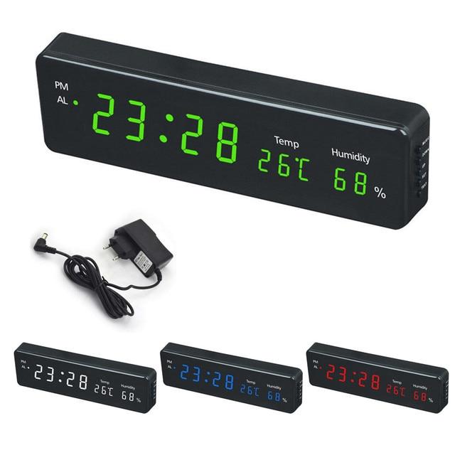 Digital Wall Clock Big LED Time Calendar Temperature Humidity Display Desk Table Clocks Electronic LED Wall Watch Decor EU Plug