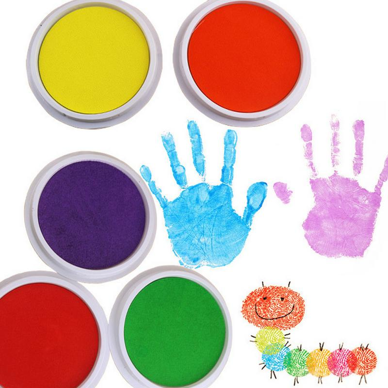 9PCS Small Size Palm Painting Pigment Colorful Inkpad Non-Toxic Washable Ink Pad Art Supplies For Children plus size brief ink painting buttoned blouse