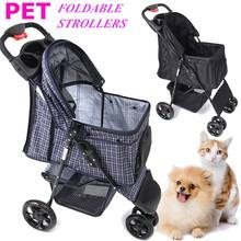 2 Colors Foldable Pet Stroller Dog Cat Puppy Sitting Lying Pushchair Stroller Cart