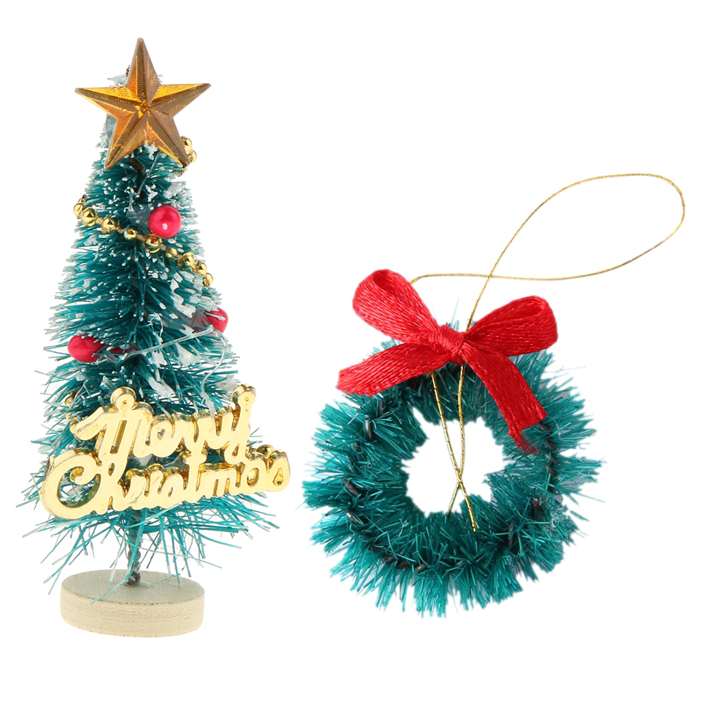 1:12 Dollhouse Miniature Christmas Wreath Garland & Christmas Tree For   Dolls House Xmas Festival Ornament