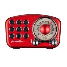 Винтажный радиоприёмник Bluetooth колонка в ретро стиле, усиление басов, громкий объем, Bluetooth 4,2 Беспроводной соединение, карты памяти и Mp