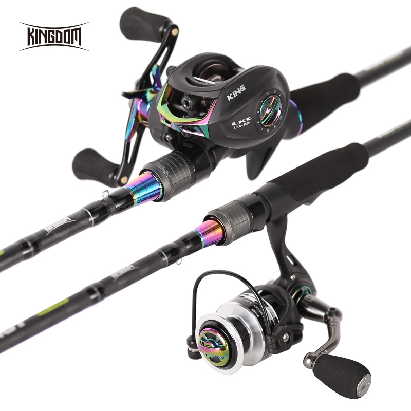 Kingdom KING II Spinning Rods Combo Casting Fishing Rod Reel Set 2 pc top section and 2 pc Power Lure Set Fishing Travel Rod clocks and colours nomad