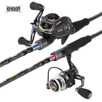цена на Kingdom KING II Spinning Rods Combo Casting Fishing Rod Reel Set 2 pc top section and 2 pc Power Lure Set Fishing Travel Rod