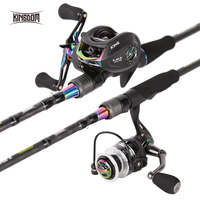 Kingdom KING II Spinning Rods Combo Casting Fishing Rod Reel Set 2 pc top section and 2 pc Power Lure Set Fishing Travel Rod