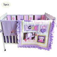 5 шт./компл. Комплект постельного белья фиолетовый хлопок детская кровать для мальчиков и девочек дети мультфильм вышивка кроватки постельн