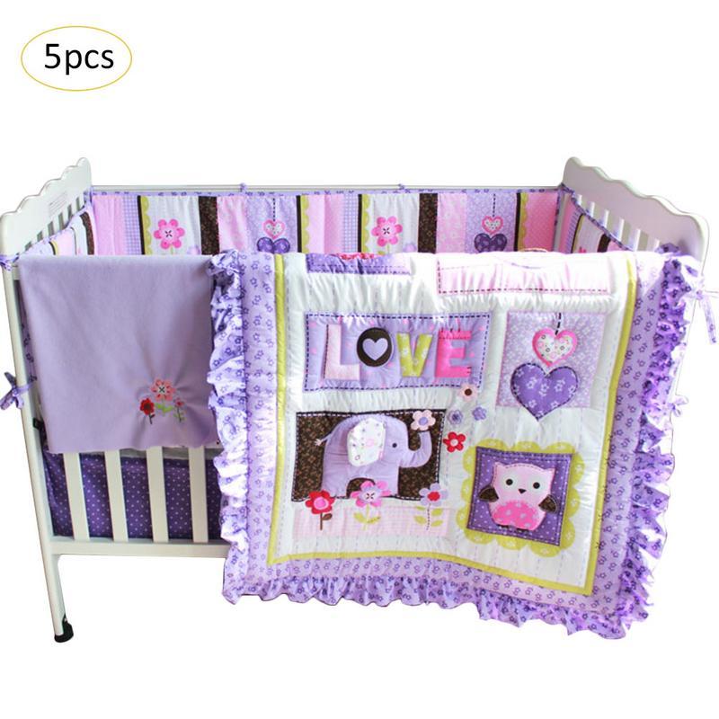 5 шт./компл. Комплект постельного белья для малышей Фиолетовый хлопок детская кровать для мальчиков девочек дети мультфильм вышивка детская кроватка набор