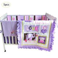 5pcs/set baby bedding set purple cotton children's bed for boys girls kids cartoon embroidery crib bedding set