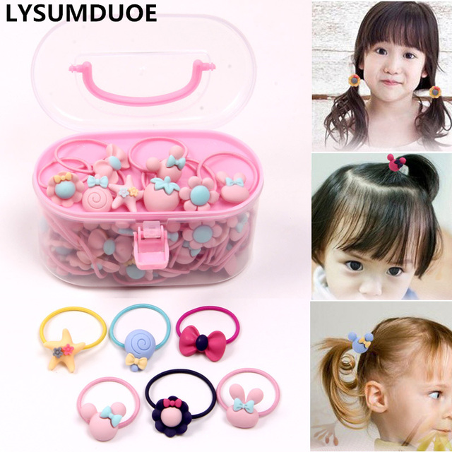 40Pcs/Lot Elastic Hair Bands Flower Hair Clip Bows New Cute Hairbands for Kids 1