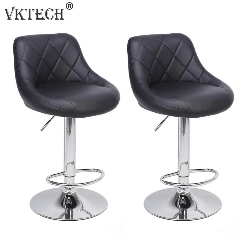 Bar Furniture 2pcs Modern Adjustable Backrest Bar Chairs 360 Degree Rotation Seat Stool Restaurants Living Room Office Cafe Furniture Kit