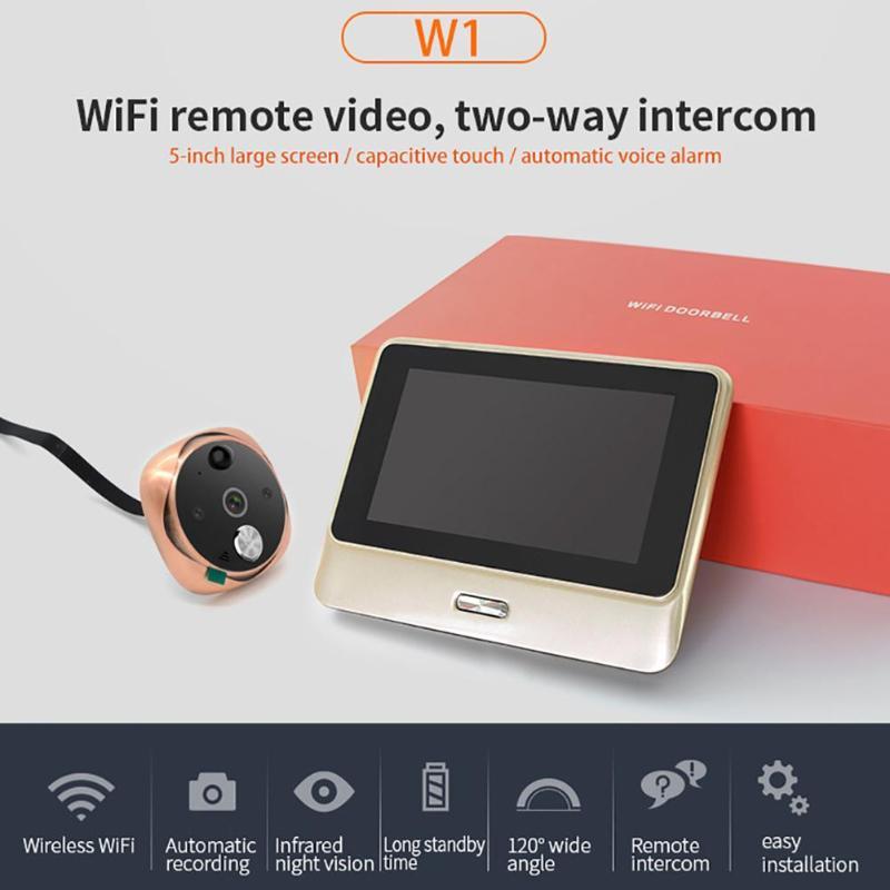 5 polegada LCD Tela Capacitiva de Tela de Toque Visual Campainha Da Porta Visualizador de WiFi IR Night Câmera Olho Mágico Da Porta de Gato Olhos Vídeo