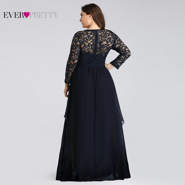 Plus Size Mother of the Bride Dresses Ever Pretty 7716 Elegant Long Sleeve Lace A-line Crystal Sashes 2020 Evening Party Gowns 4