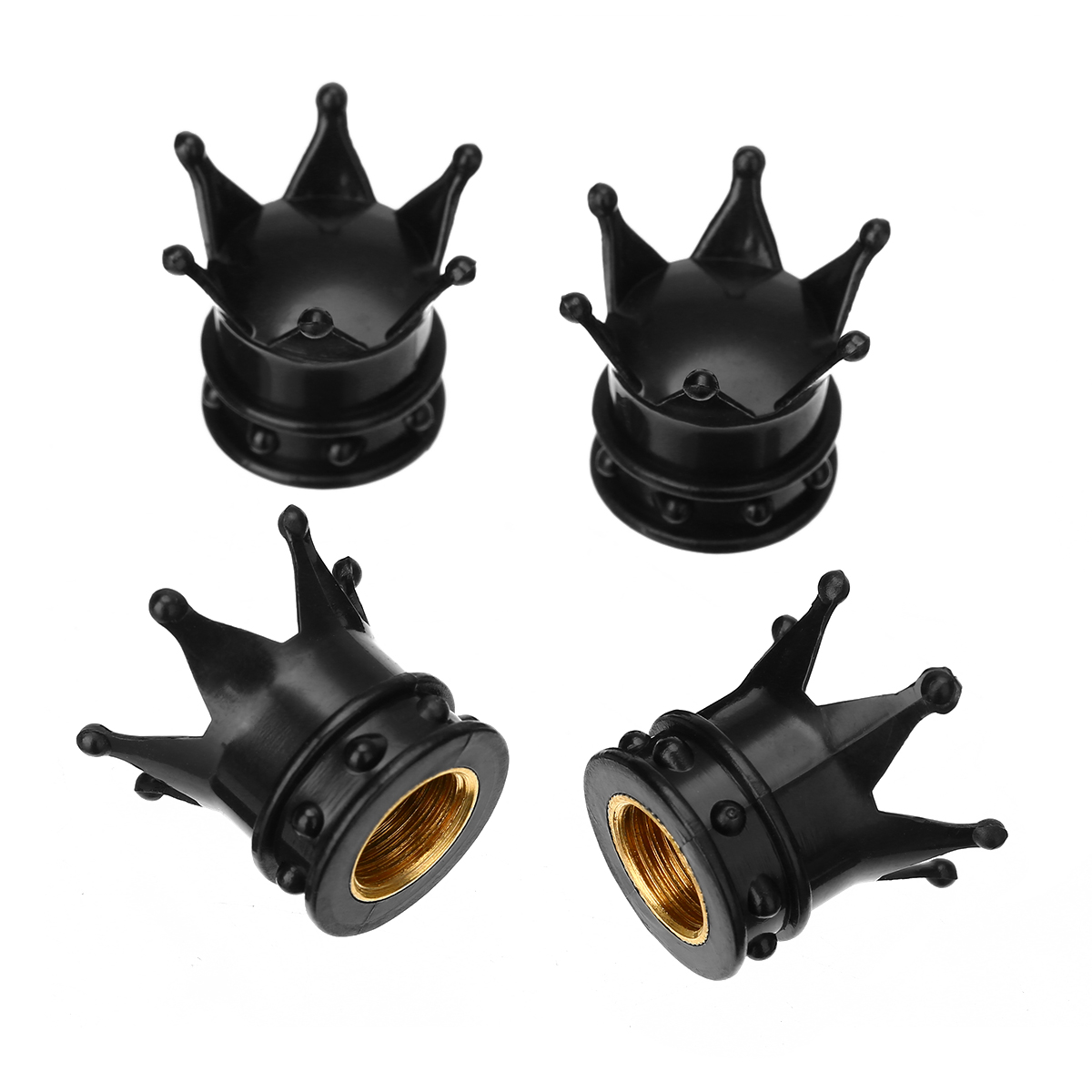 For Car Truck Bike Motorcycle Atv 4pcs Black Aluminum Car Wheel Tyre Tire Air Valve Stem Cap Dust Cover Crown Design Mayitr