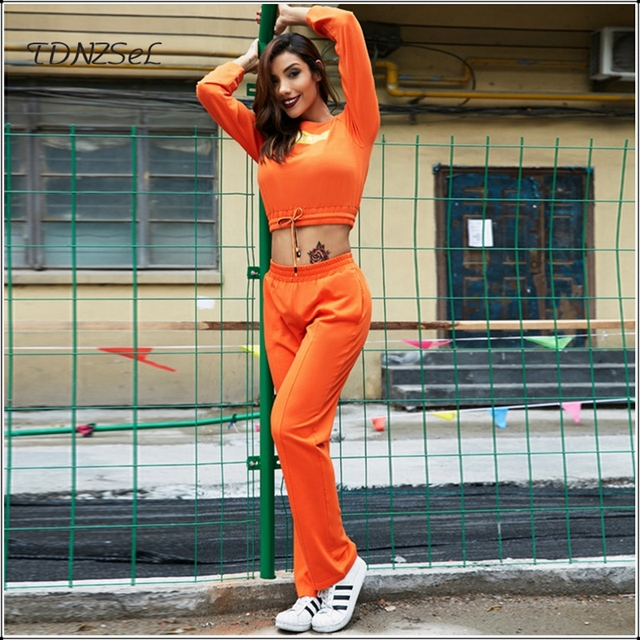 Women Sexy Casual Crop Top Trouser 2 Two piece Set Sporting Tee Suits Long Sleeve Drawstring Elastic T Shirt Loose Long Pant Set