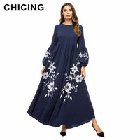 CHICING 2019 Spring New Arrival Bohemian Long Dresses O Neck Lantern Sleeve High Waist Embroidery Maxi Dresses for Laides