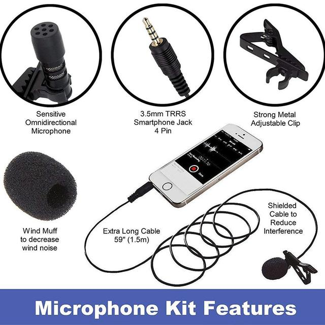Black Wireless Lavalier Microphone