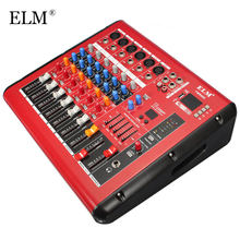 ELM Professional Microphone Sound Mixing Console bluetooth 6 Channel Karaoke Audio Mixer Amplifier With USB 48V Phantom Power(China)