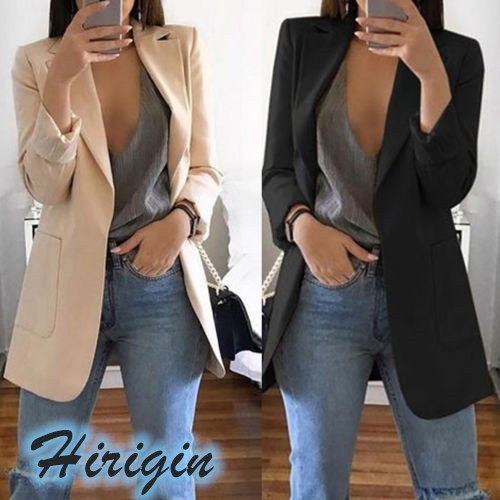 Summer Women Clothes 2019 New Casual Women's Slim Long Sleeves Turn-  Down   Collar Cardigan Mid Solid   Coat