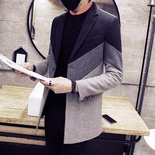 Men's woolen coat 2018 new Korean version of the color matching long section Slim woolen coat youth handsome windbreaker