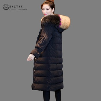 2020 Long Women Down Jacket Winter BGoose Feather Coats Plus Size Slim Warm Hooded Parka With Fur Collar Thick Outerwear Okd545