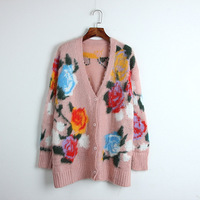 2018 New Vintage Rose Floral Pattern Single Breasted long Mohair Loose Cardigan coat sweater Cardigans autumn winter outwear