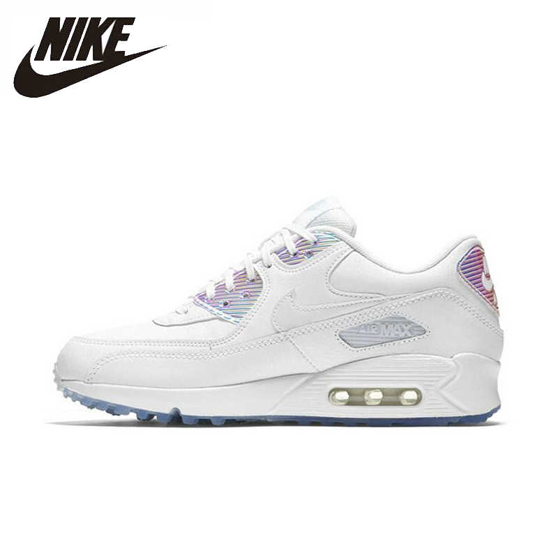 Nike AIR MAX 90 PRÉMIO das Mulheres Running Shoes Respirável Sneakers Formadores Authentic #443817-104