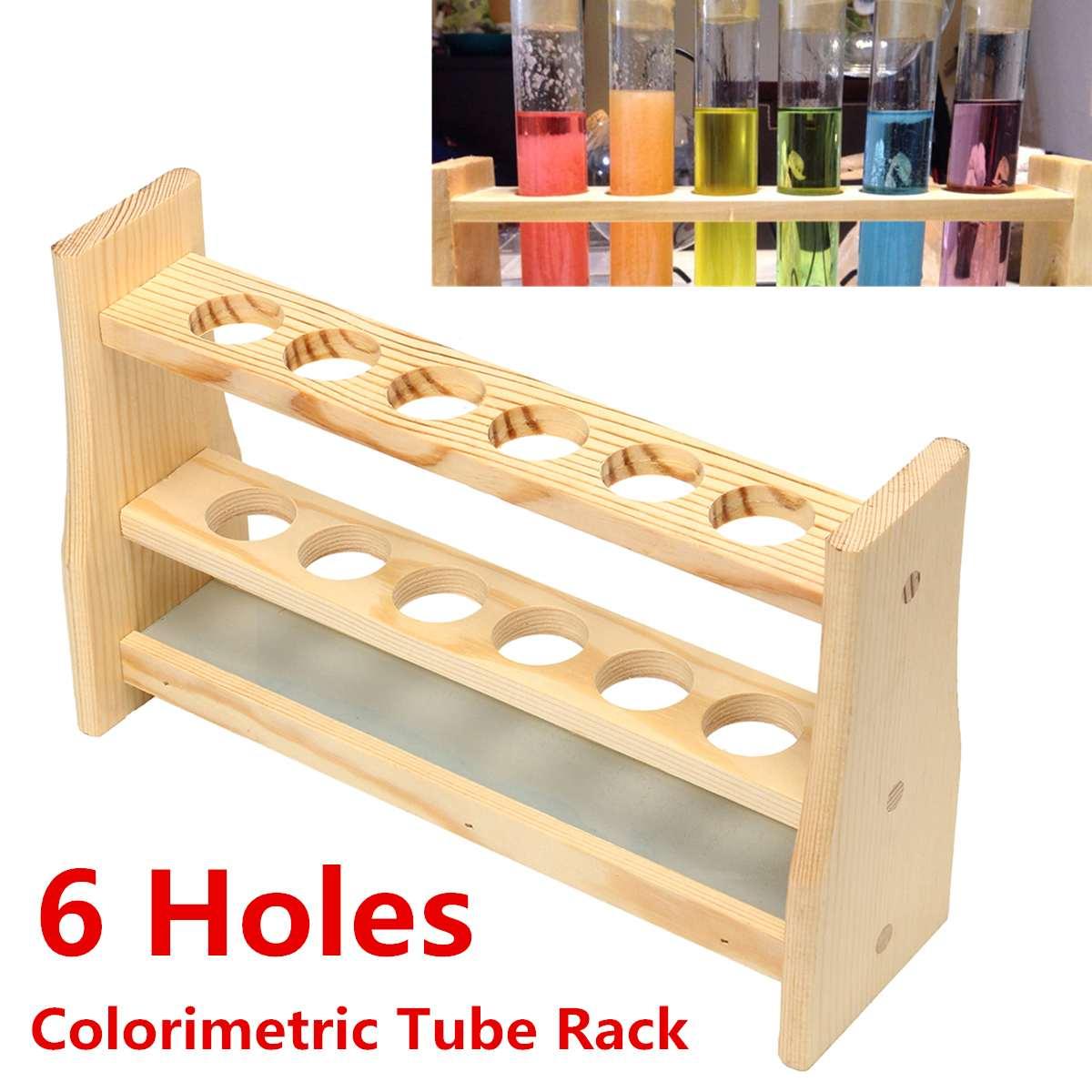 6 agujeros tubo de prueba tubos de prueba soporte de Clip Dropper madera laboratorio suministros 6 agujeros diámetro 25mm y alfileres-madera maciza