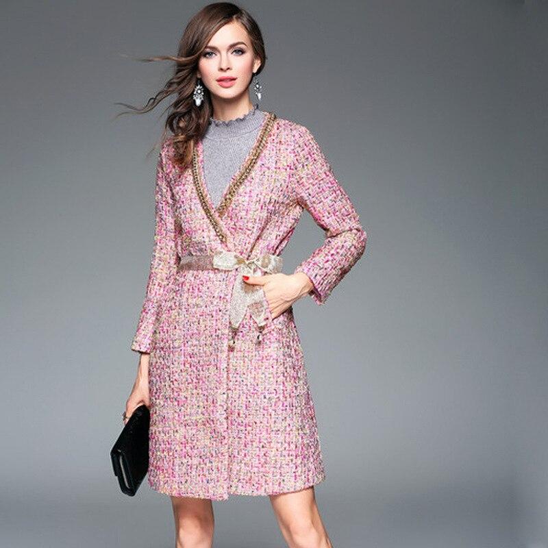 Colour Ta881 Laine Femmes 2019 Mode cou V Automne Brown dark Pardessus Longues Ceinture Cardigans Pink Lanmrem Type De Printemps Manches Couleur Col Manteau Frappé n1AAxH
