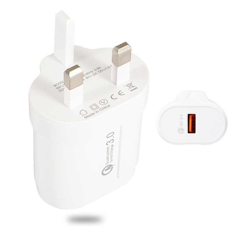 Fast QC3.0 UK Charger For IPhone For Xiaomi Samsung Universal Travel Power Supply Fast Charging Adapter With Micro Type-c Cable