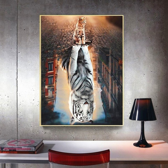 HUACAN 5d Diamond Painting Full Drill Square Animals Diamond Embroidery Cats Diamond Mosaic Sale Tiger Pictures
