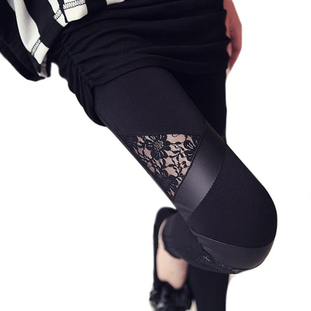 For Autumn Spring New Punk Gothic Rock Style Legging Sexy Lace PU Leather Splice Femininos Women Apparel Leggings