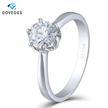DovEggs Solid 18K 750 White Gold 1 Carat 6.5mm F Color Lab Grown Heart and Arrow Cut Moissanite Engagement Ring for Women