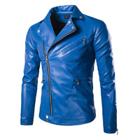 Mens Blue Leather Jackets Slim Fit Leather Blouson Jacket Coats Designer Punk Leather Biker Jackets for Men Spring 5XL
