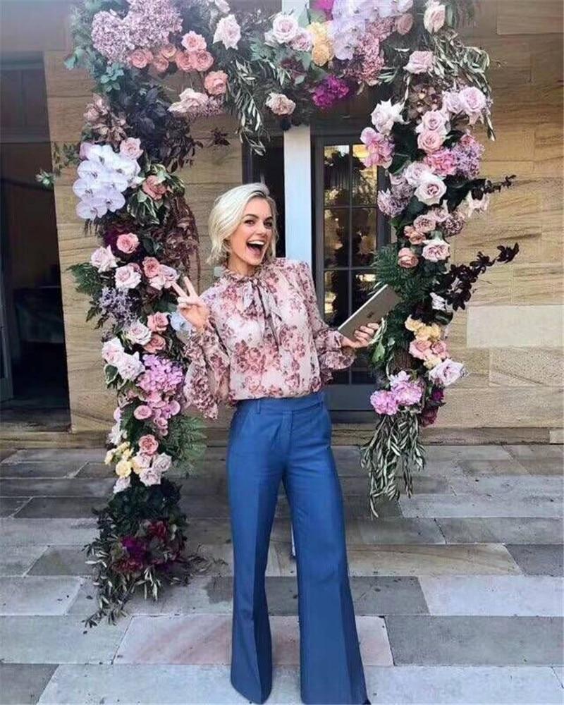 Soie Blouse Imprimé Floral Papillon Ruches Rose Nouvelle 2018 Arrivée vgwq4EPO