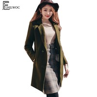 Winter Coats Outerwear Jacket Hot Women Korean Style Cute Elegant Temperament Lady Black Army Green Double Button Woolen Coat