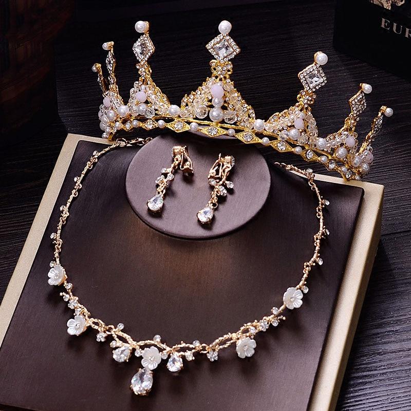 Baroque Gold Crown Headband Girls Pink Tiara Wedding Hair Accessories Jewelry Bridal Headpiece Set Hairband Crown Princess Queen