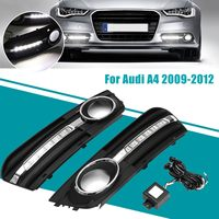 Pair Front Bumper DRL Daytime Running Light LED Fog Lamps Insert Grill Covers for Audi A4 2009 2010 2011 2012