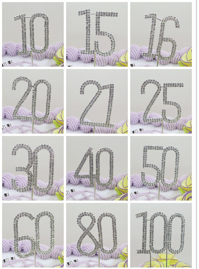 ZMASEY Rhinestones Cake Topper 1Pcs Fesyen Holiday Party Decoration DIY Karya Hadiah Hari Ulang Tahun Hadiah