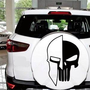 Image 2 - 1 ピース黒 60 × 38 センチメートルパニッシャー skull ビニール車の自動車ドアフード車のステッカー