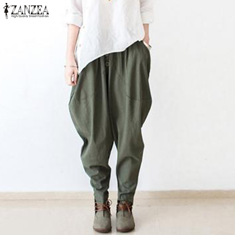 2019 Plus Size ZANZEA Women Casual Solid Elastic Waist Cotton Linen Harem Trousers Drop Crotch Pantalon Long Turnip Pants Female
