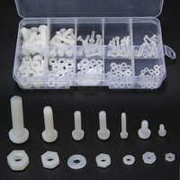 150pcs White Nylon Hex Screw M2 M2.5 M3 M4 M5 Bolt Nut Standoff Spacer Kit with Plastic Box Corrosion Resistant