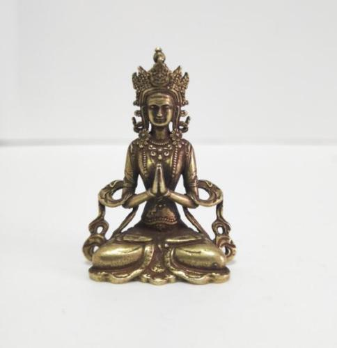 Old Chinese Hand-made cupronickel Copper Send the child Guanyin Statue