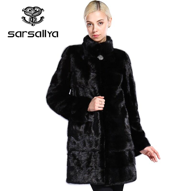 SARSALLYA Real de piel de estilo de moda abrigo de piel de cuero genuino Mandarin Collar de buena calidad de visón abrigo de piel las mujeres negro Natural abrigos