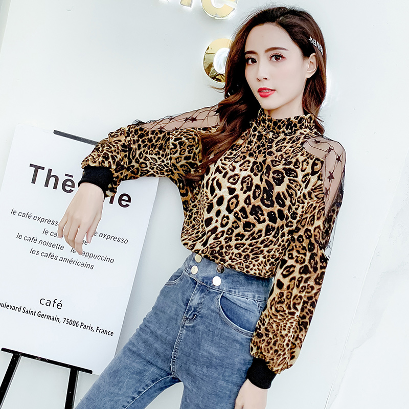 Leopard Blouse Long Sleeve Chiffon Shirt Women Sexy Off Shoulder 2019 Spring Ladies Top Blusas Mujer Verano Tunic Tops Plus Size 3