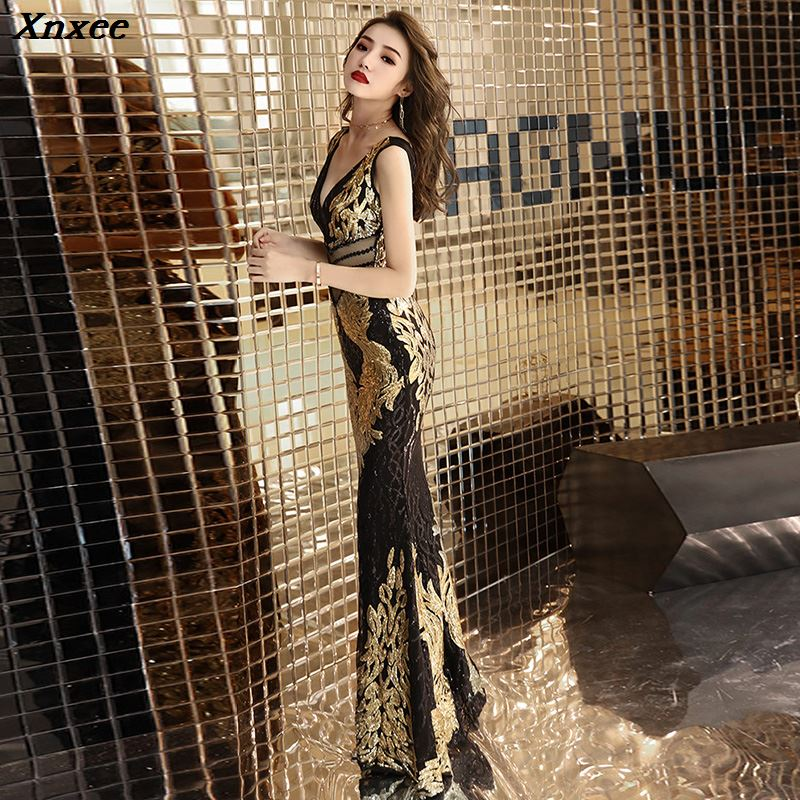 Xnxee Luxurious Sequins Sleeveless V Neck Long Dress Women 39 s Evening Party Dress Prom Birthday Celebrate Female Singer Dresses in Dresses from Women 39 s Clothing