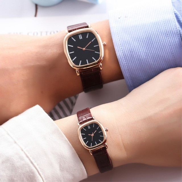 2019 Fashion Watches Women Men Lovers Watch couple Leather Quartz Wristwatch Fem