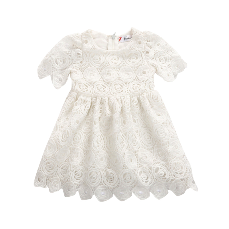 CANIS 2019 New Baby Kid Girls Summer Lace Dresses Cute Princess Short Sleeve Party Tutu Bow Flower Dresses Clothes Solid Color